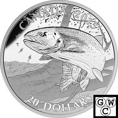2015 'Rainbow Trout - Sportfish' Proof $20 Silver Coin 1oz .9999 Fine (17324)