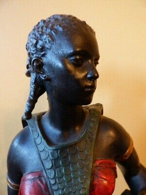 Large & Very Fine Antique Figurine of a Young Black Woman - Possibly Spelter