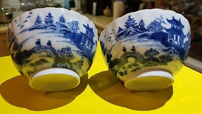 old chinese export pair of fluted blue and white bowls