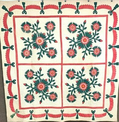 Festive Red Green! 1800s 4 Block APPLIQUE Whig Rose QUILT Antique Swags Tassels