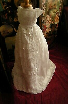 Antique  Christening Gown Broaderie Anglaise Apron Front Good Antique Condition