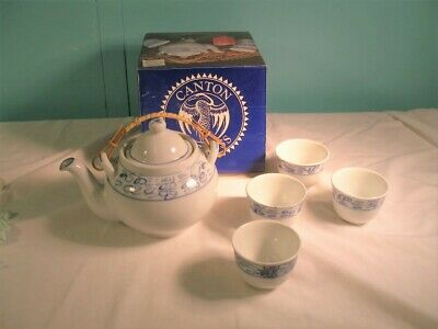 Vintage Canton Express Teapot + 4 Cups, Double Happiness, Boston Warehouse, NIB