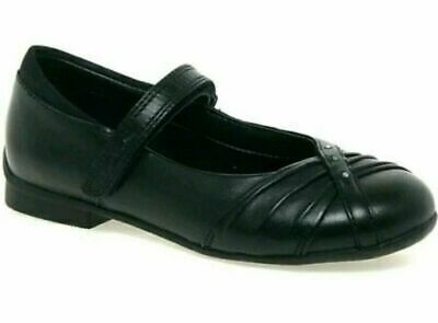 Clarks Movello8 Infant Girls Black Leather School Shoes SIZE UK Kids 10.5 F NEW