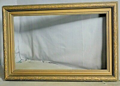 Antique Bronze Powder Gilt Carved Wood Arts Crafts Picture Frame not 12x21 1925
