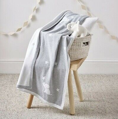 The Little White Company Kimbo Star Elephant Grey Baby Blanket BNWT RRP £36