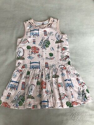 Cath Kidston Girls London Pink Print Dress Age 3-4 Immaculate Condition