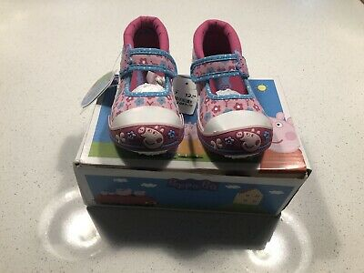 Peppa Pig Canvas Pumps Girls Peppa Pig Canvas Shoes- Pink Flowers Infant Size 7.