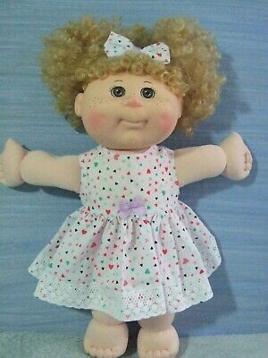 "14"" CABBAGE PATCH Dolls Clothes / DRESS & HEADBAND / small hearts on white"