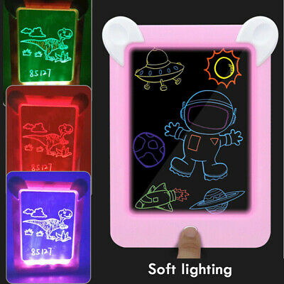 3D Drawing Pad LED Lights Glow Art Sketchpad Developing Toy Magic Board for Kids