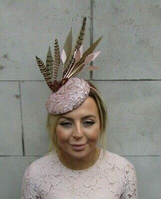 Nude Dusky Pink Beige Brown Pheasant Feather Pillbox Hat Fascinator  Sequin 7945