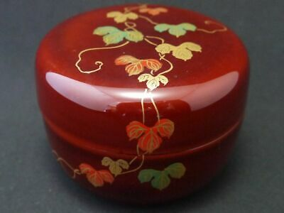 Japanese Traditional Lacquer Wooden Tea caddy IVY makie Hira-Natsume (1205)
