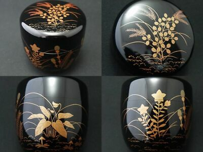 Japanese Lacquer Wooden Tea caddy 4 Seasons Flowers makie Chu-Natsume (1202)