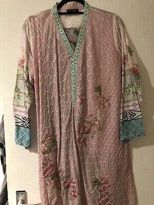 Pink And Green Cotton Lawn Salwar Kameez Large