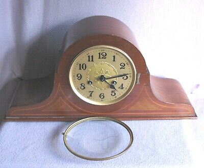 Antique Edwardian Mahogany Inlaid Nelson Mantle Clock