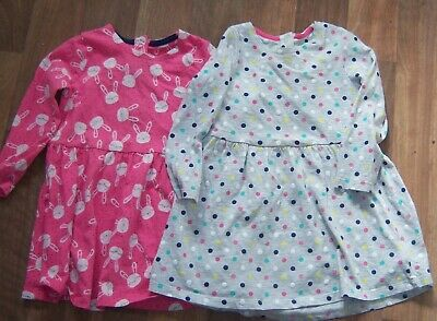 Mothercare Two Long Sleeve Dresses 1 pink + 1 multi Size 12 -18 Mths x con