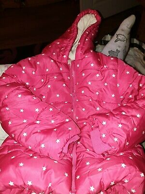Size 3-4 Years Pink With White Stars Waterproof Girls Coat Fur Lined george asda
