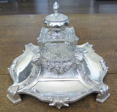 Antique Russian Silver & Crystal Inkwell & Pen Desk Tray HUGE 37 troy oz 13.25""