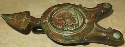 GRAND TOUR Roman Bronze Oil Lamp w/ Winged Victory Sacrificing the Bull
