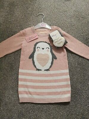 Girls Xmas Jumper Dress & Tights Outfit Age 12-18 Mths Bnwt
