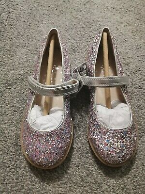 Girls Silver & Pink Glitter Sparkle Xmas Party Shoes Size 10 Next Bnwt