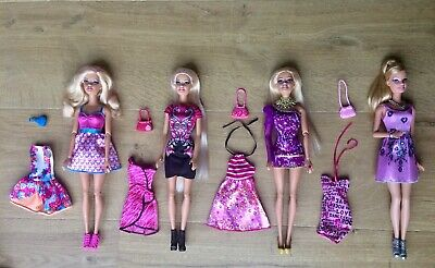 Barbie Bundle 4 Dolls Style Glam Fashionistas, Outfits/Clothes & Accessories