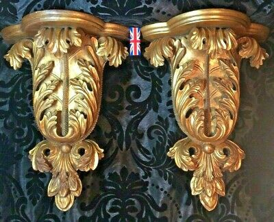 gorgeous large pair of antique French carved gilt wood wall shelves brackets 16""