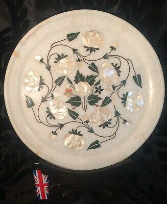 beautiful large antique Indian marble pietra dura & mother of pearl inlay plate