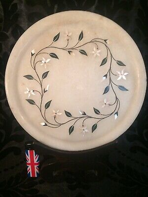 """beautiful antique Indian marble pietra dura & mother of pearl inlay plate 9 5/8"""""""