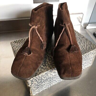 50s/60s Vintage Morlands ladies brown sheepskin lined bootees, 6.5, with box
