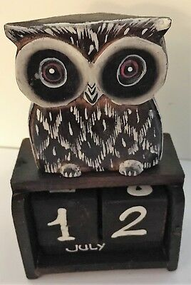 Shabby Chic Standing Owl Perpetual Calendar Wooden (Hand Carved)