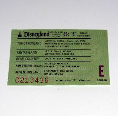 Disneyland Theme Park Vintage Adult E Ticket coupon from the early 1970's
