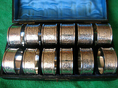 Sterling Silver Napkin Rings. 2 Sets Antique.