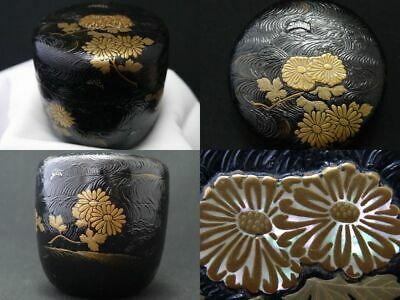 Japan WAJIMA Lacquer HAKEME-NURI Wooden Tea caddy Chrysanthemum makie O-Natsume