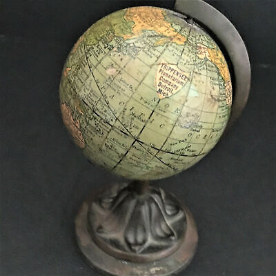 "Miniature 3"" Terrestrial Globe Trippensee & Rand, McNally Co. Paperweight 1891"