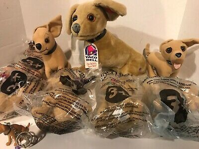 Taco Bell Chihuahua Talking Plush Dog Lot of 9 Key Chain Plus Large Working