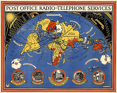 World Map Post Office Radio Telephone Services Ham Operators Wall Poster Gift