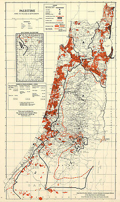 Map of Palestine Israel Villages and Settlements Wall Poster Vintage History