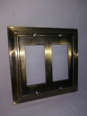 VINTAGE metal double light switch plate cover 1 of 2