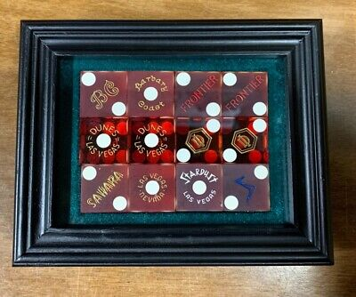 Framed Vintage Casino Dice Collection of Closed Historic Las Vegas Casino's