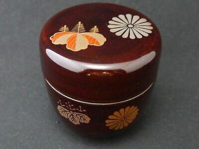 Japan Lacquer Wooden Tea caddy Paulownia and Chrysanthemum design Natsume (813)