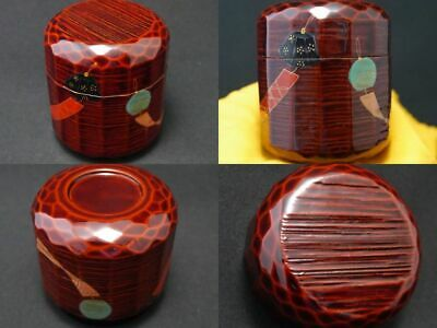 Japan WAJIMA Lacquer Wooden Tea caddy FURIN makie Oridame-Natsume UNIQUE (1105)