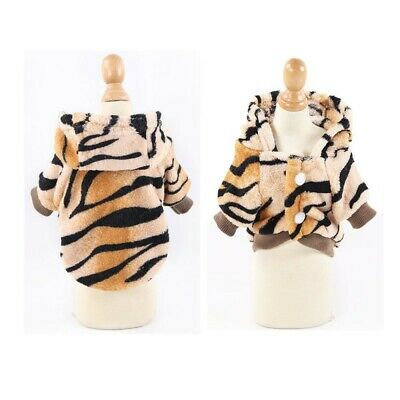 Puppy Dog Cat Pet Clothes Cute Tiger Pattern Flannel Hoodie Warm Winter Costume