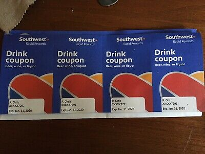 4 New Unused Southwest Airlines Drink Coupons - Expire Jan 1 2020