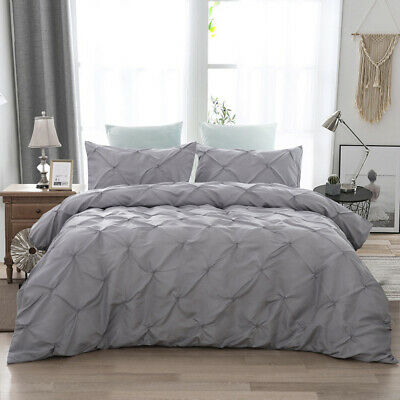 Duvet Quilt Cover Pintuck Pleated Bedding Set Pillow Cases Single Double King