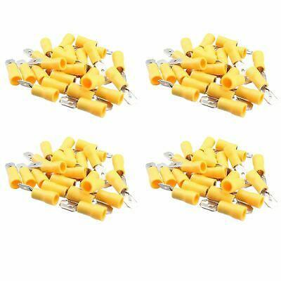 5mm Male Yellow Electrical Cable Wire Spade Terminals Crimps Connectors 100pc