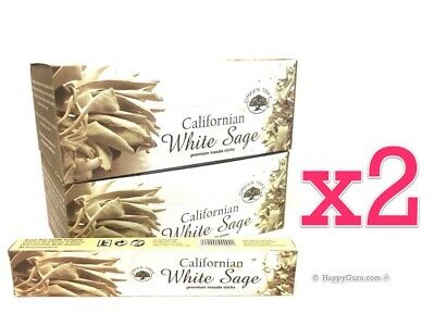 'Californian White Sage' 2 Boxes Green Tree Masala Incense Sticks 360g (24x 15g)