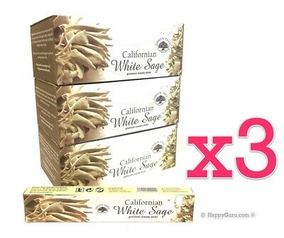 'Californian White Sage' 3 Boxes Green Tree Masala Incense Sticks 540g (36x 15g)
