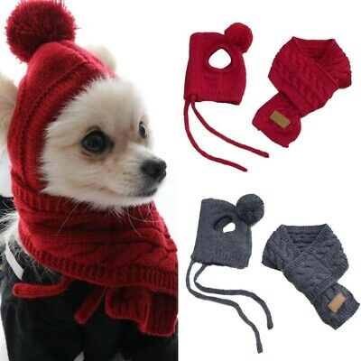 Christmas Knitted Pet Hat & Scarf for Cats Dogs Puppies Xmas Decoration Costume