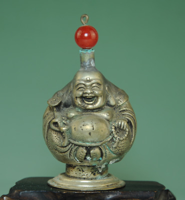 china old hand-made cooper-plating silver Buddha statue snuff bottle Bb01B