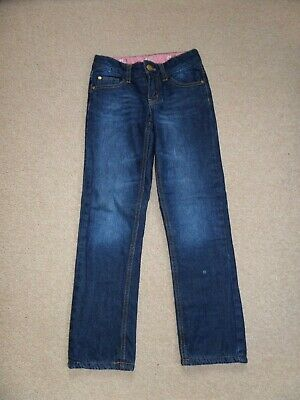 WORN TWICE! Girl's MOTHERCARE Fleece Lined Jeans Age 7-8 Blue with Pink Lining